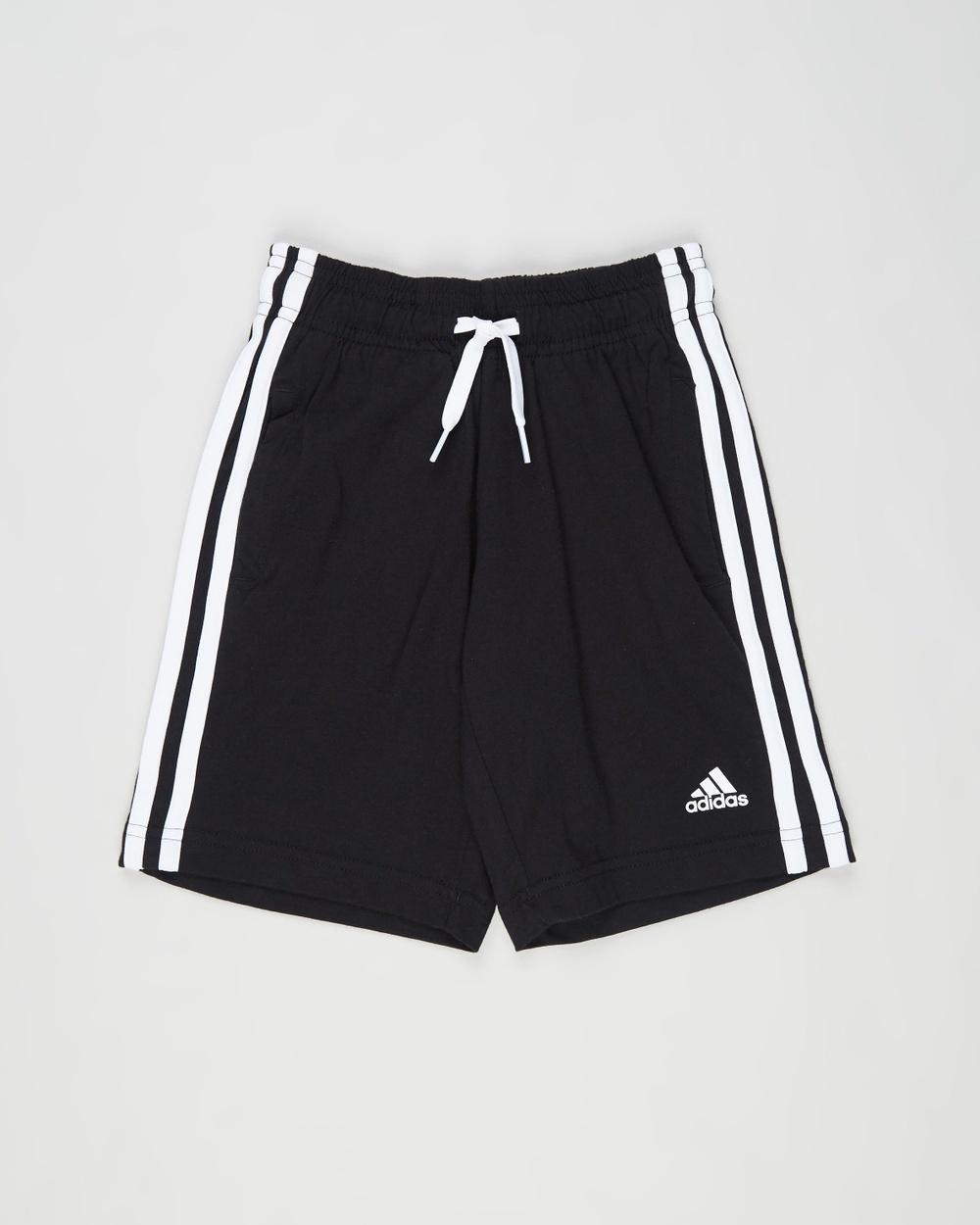adidas Performance Essentials 3 Stripes Cotton Shorts Kids Teens High-Waisted Black & White 3-Stripes Kids-Teens