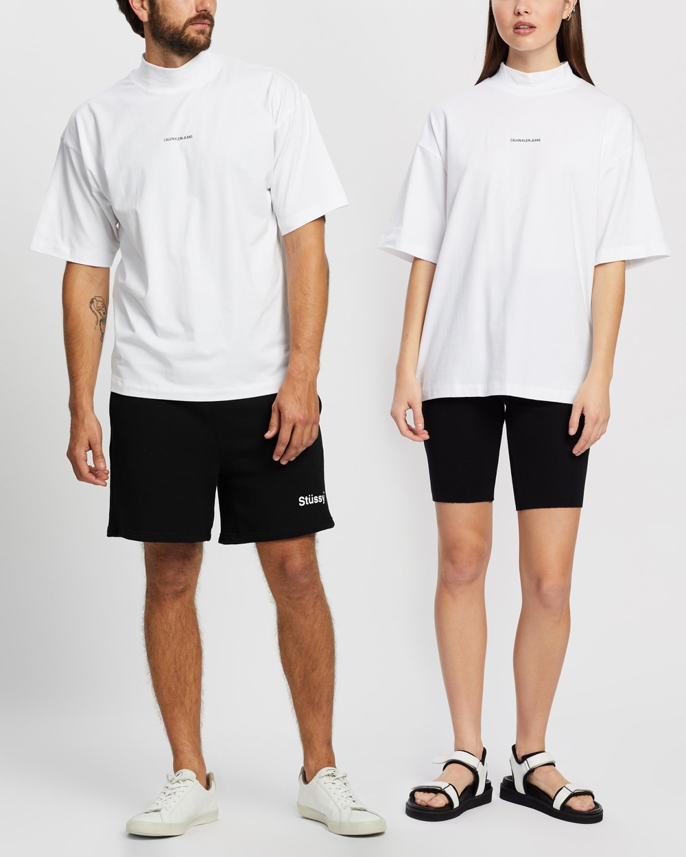 Calvin Klein Jeans - Micro Branding Mock Neck   Unisex - T-Shirts & Singlets (Bright White) Micro Branding Mock Neck - Unisex