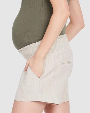 Soon Maternity Nala Linen Shorts - Shorts (NUDE)