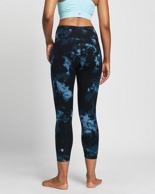 Sweaty Betty Power 7 8 Workout Leggings - 7/8 Tights (Blue Tie Dye Print)