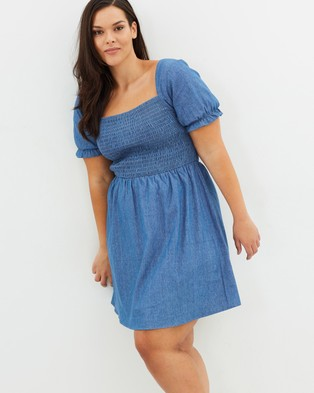Atmos & Here Curvy – Astar Chambray Mini Dress Traditional Blue
