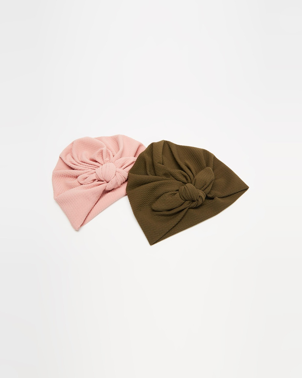 ArchNOllie Ripple Bow Turban 2 Pack Babies Hair Accessories Olive & Blush 2-Pack