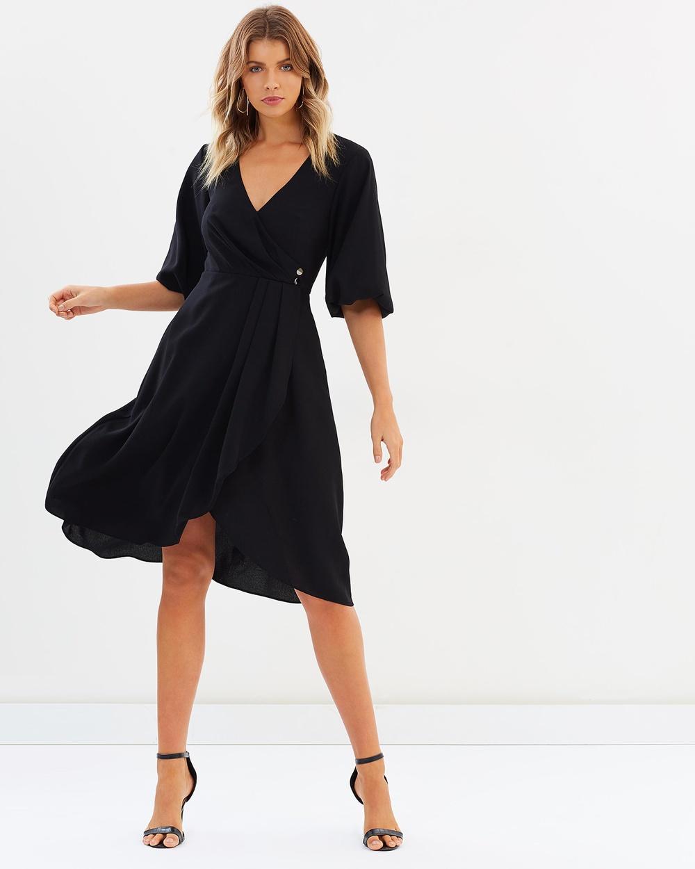 Atmos & Here ICONIC EXCLUSIVE Perla Wrap Midi Dress Dresses Black ICONIC EXCLUSIVE Perla Wrap Midi Dress