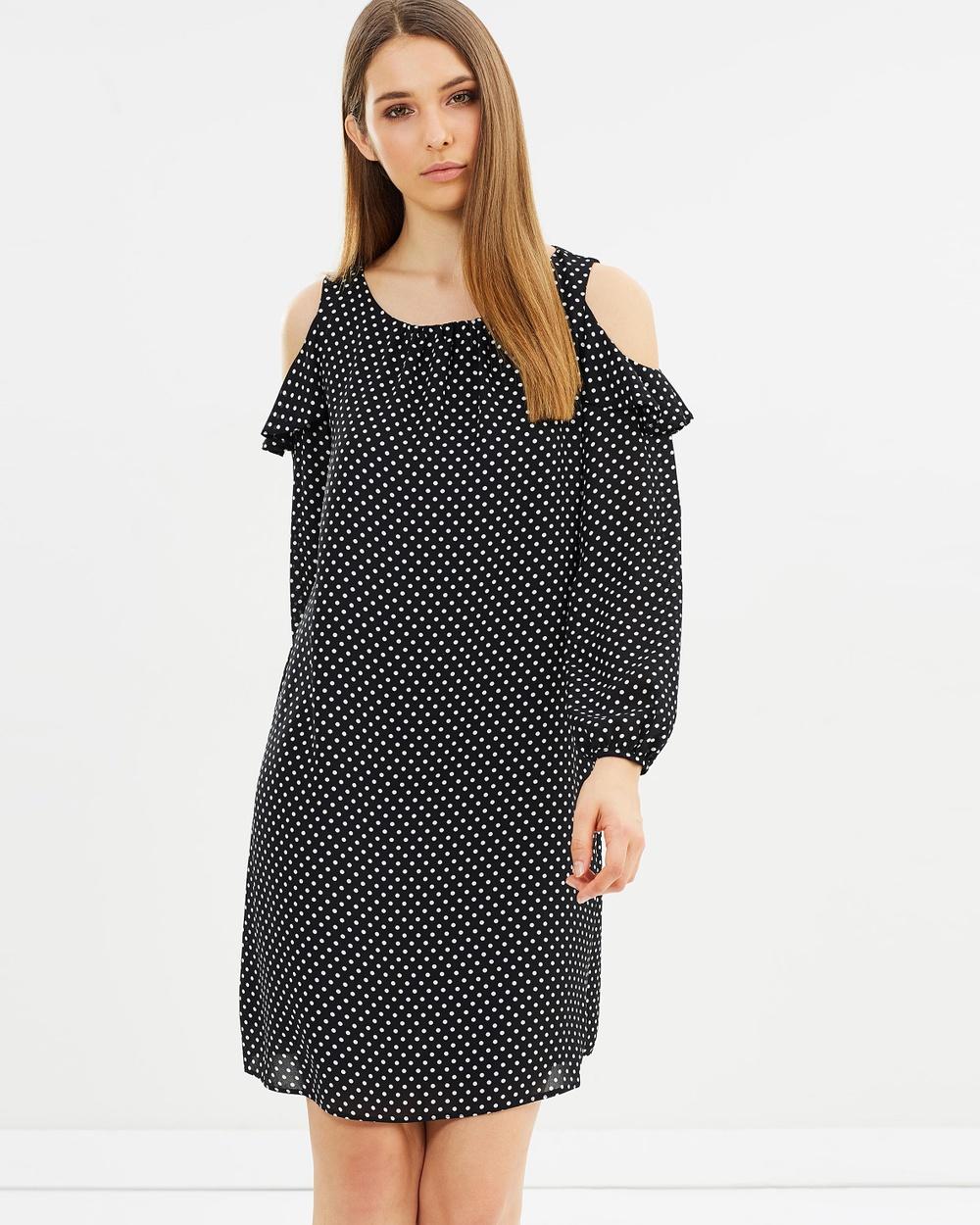 Wallis Cold Shoulder Dress Dresses Black & White Cold Shoulder Dress
