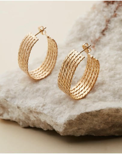 Joanna Laura Constantine Gold-plated Twisted Flat Wires Hoop Earrings Brass Gold