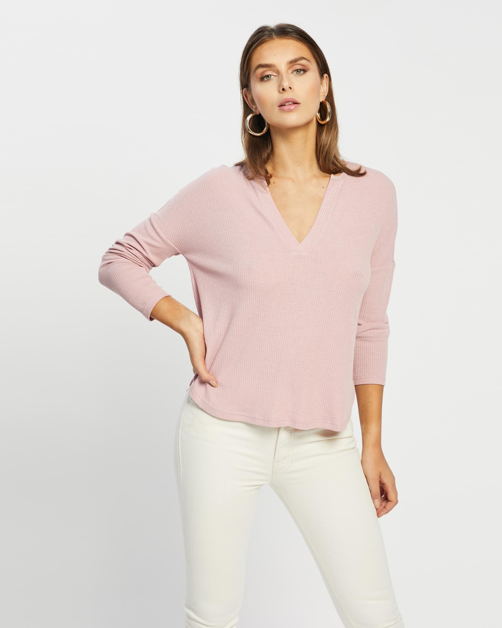 Atmos&Here - Rozalia Relaxed Oversized Top - Tops (Dusty Pink) Rozalia Relaxed Oversized Top