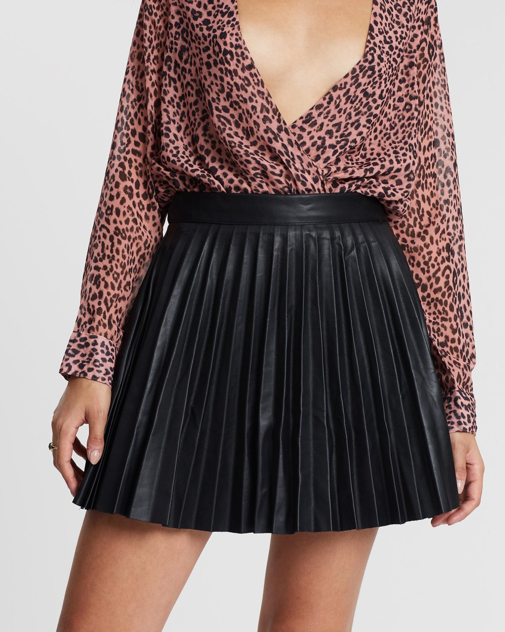 7cd43017e33b Faux Leather Pleated Mini Skirt by Missguided Online | THE ICONIC |  Australia