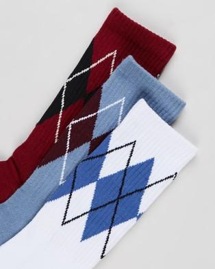 X-Large - Argyle Socks 3 Pack Crew (White & Slate Blue Red)