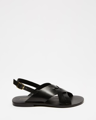 Atmos&Here - Achilles Leather Sandals Shoes (Black Leather)