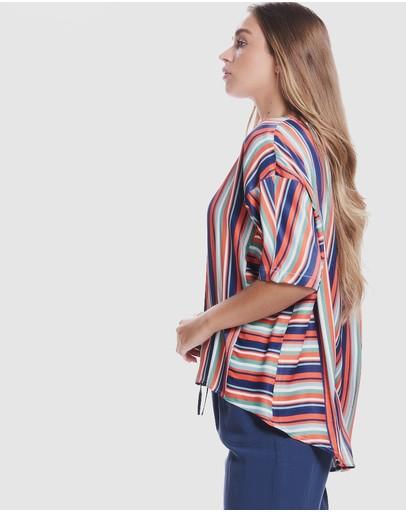 Privilege Loose Sleeve Top Multi Stripe