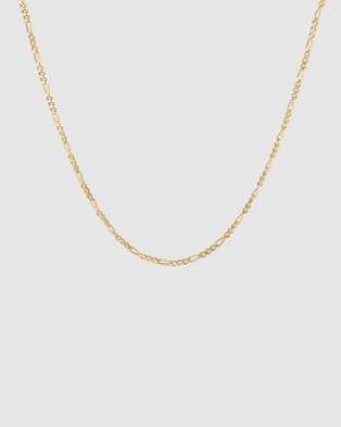 Kuzzoi Necklace Figaro Basic Trend in 925 Sterling Silver Gold Plated - Jewellery (Gold)