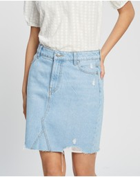 Dorothy Perkins - Bleach Ripped Denim Mini Skirt