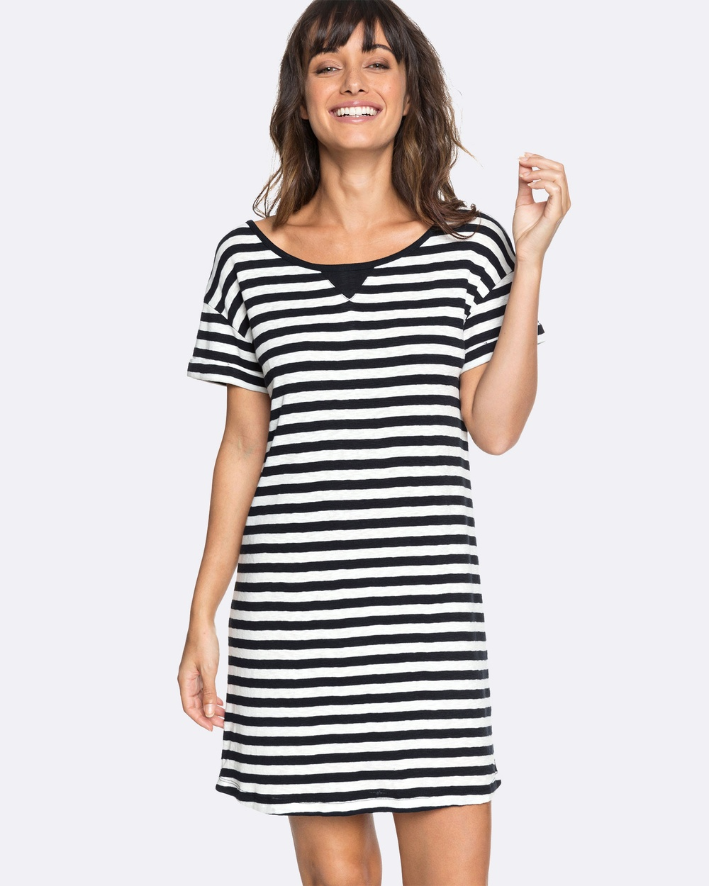 Roxy Womens I Need Your Time Striped Tee Dress Swimwear TRUE BLACK BIG SIMPL Womens I Need Your Time Striped Tee Dress