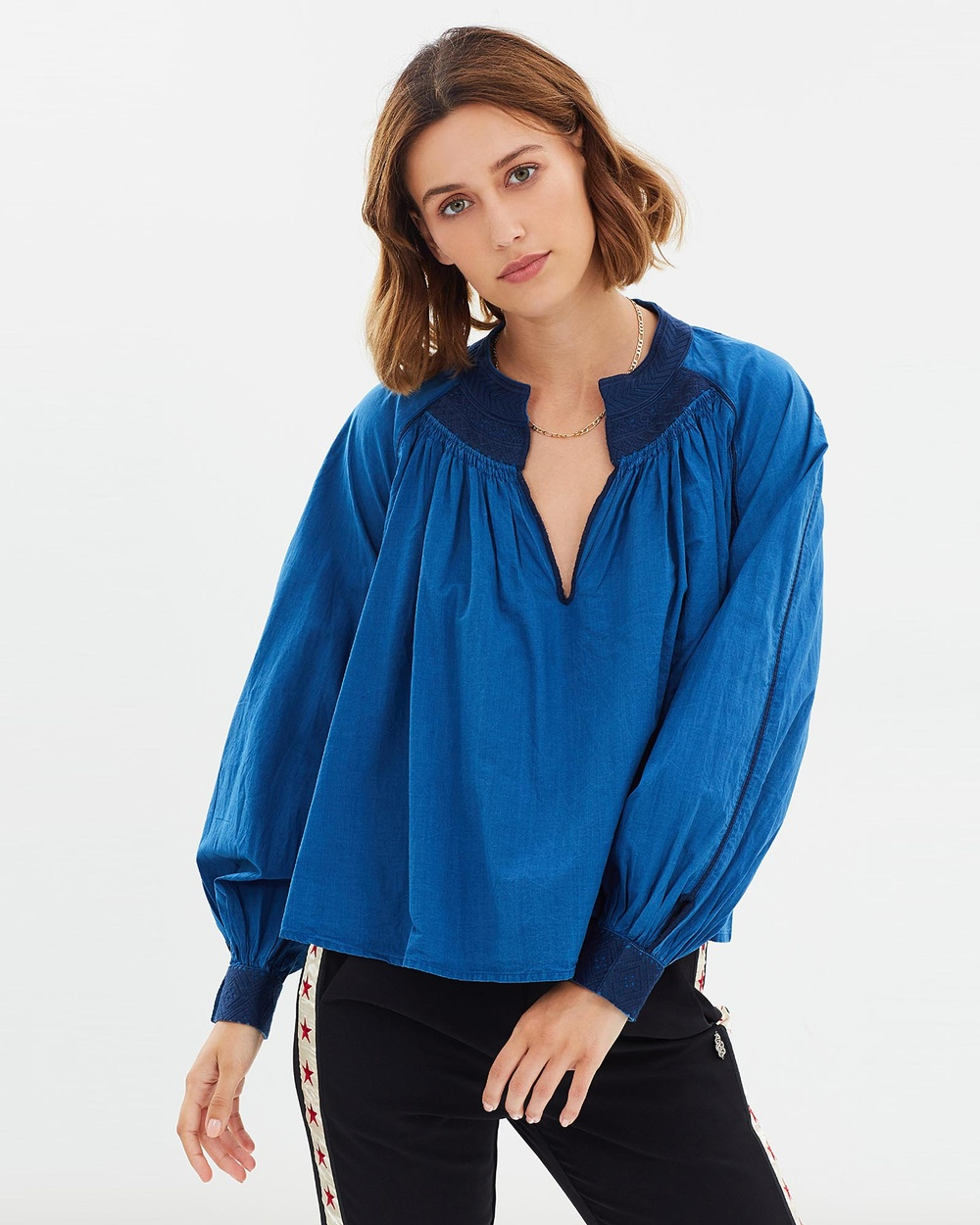 Maison Scotch Pleated Top Tops Indigo Pleated Top