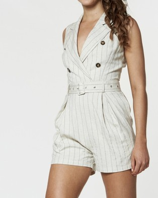 Amelius Honour Pinstripe Playsuit - Jumpsuits & Playsuits (Nude/Black)