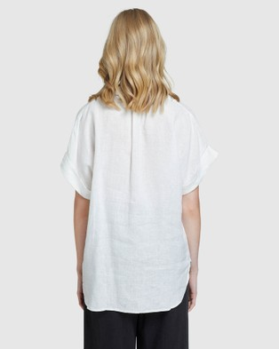 Oxford Cara Linen Shirt - Tops (White)
