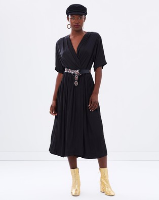 Maison Scotch – Silky Midi Wrap Dress – Dresses (Black)