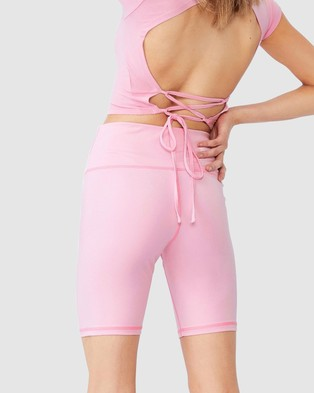Factorie High Waisted Elevated Bike Shorts - High-Waisted (Babe Pink)