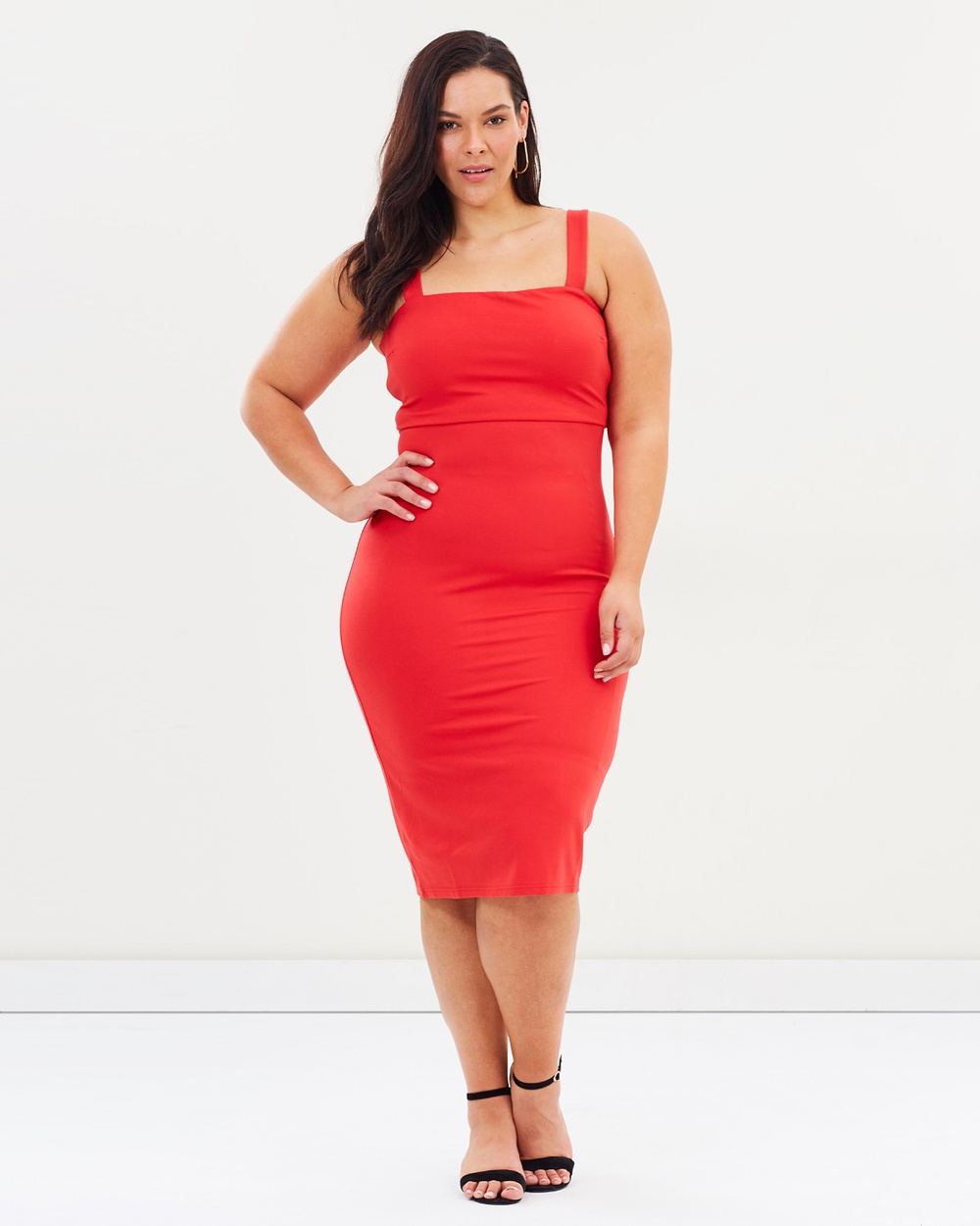 Atmos & Here Curvy ICONIC EXCLUSIVE Khloe Midi Dress Dresses Red ICONIC EXCLUSIVE Khloe Midi Dress