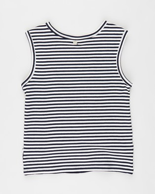 Eve Girl - Emmerson Tank Teens T-Shirts & Singlets (Navy White Stripe)