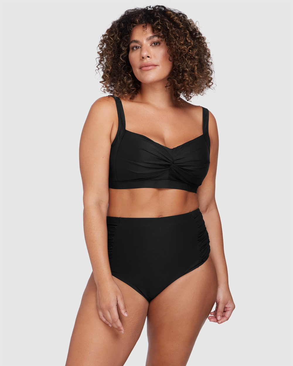 Artesands - Hues Rouched Side High Waist Pant BLACK - Swimwear (BLACK) Hues Rouched Side High Waist Pant BLACK