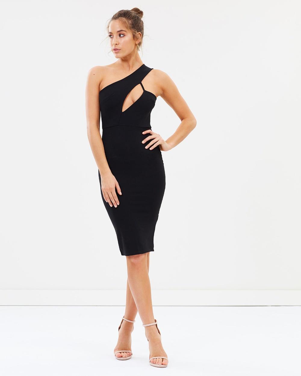 Missguided One Shoulder Midi Dress Bodycon Dresses Black One Shoulder Midi Dress