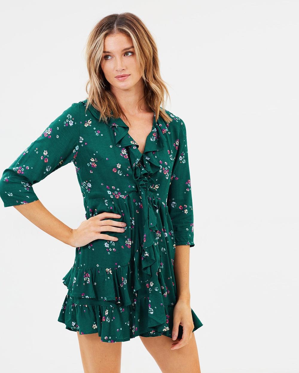 Auguste The Label Desert Dandelion Grace Mini Dress Dresses Emerald Desert Dandelion Grace Mini Dress