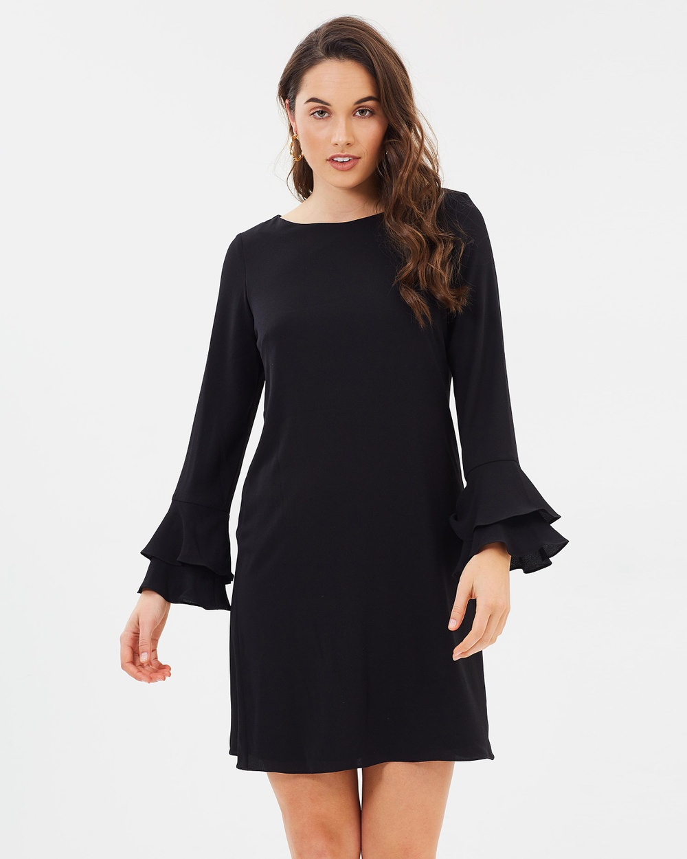 Wallis Double Fluted Sleeve Dress Dresses Black Double Fluted Sleeve Dress