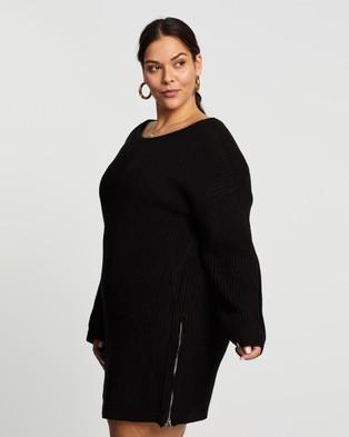 Missguided Curve Plus Off Shoulder Zip Jumper Dress - Dresses (Black)