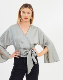Lost Ink - Kimono Sleeve Cropped Shirt