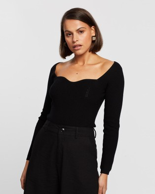 ARIS Curve Bust Knit Top - Tops (Black)