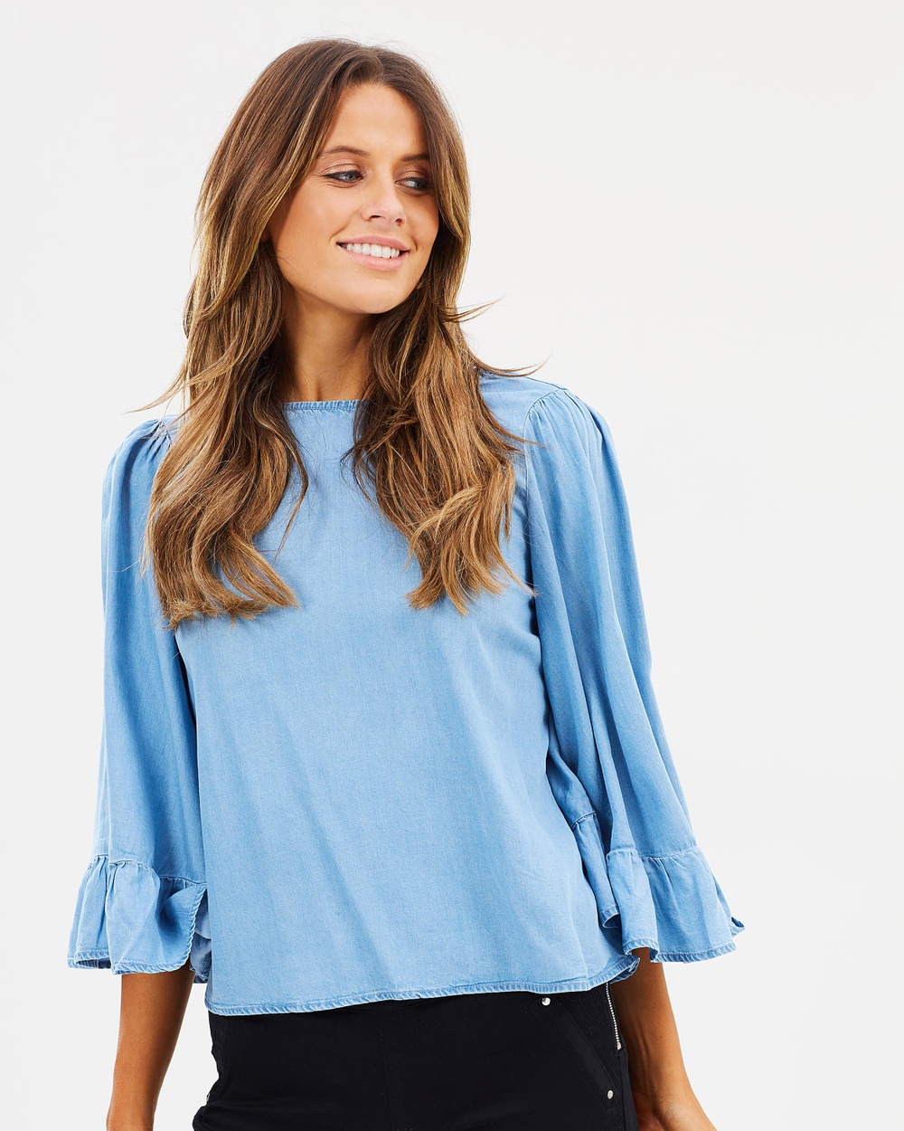 ONLY Haley Big Sleeve Frill Denim Top Tops Light Blue Denim Haley Big Sleeve Frill Denim Top