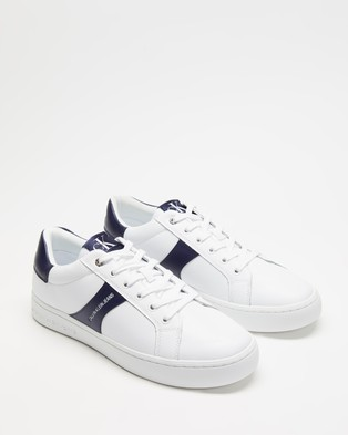 Calvin Klein Jeans - Cupsole Lace Up Sneakers (Bright White & Navy)