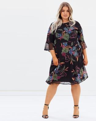 EVANS – Printed Mesh Skater Dress Tropical