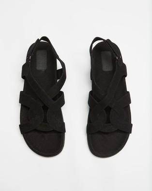 AERE Linen Footbed Sandals - Shoes (Black Linen)