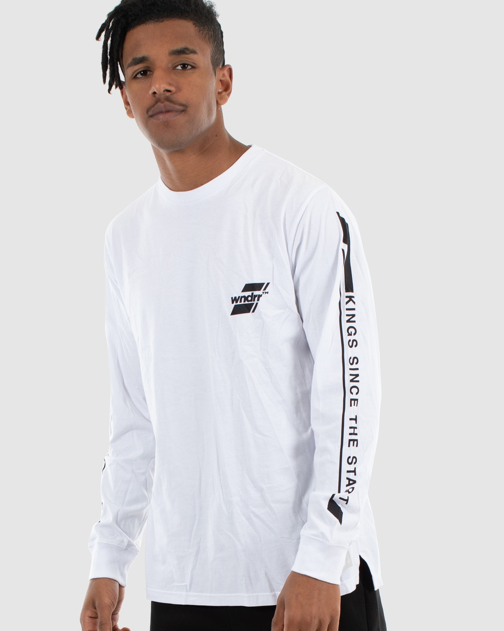 WNDRR - Across Long Sleeve Tee - Long Sleeve T-Shirts (White) Across Long Sleeve Tee
