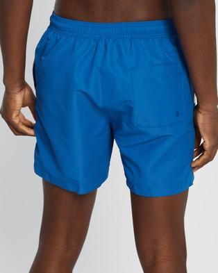 Calvin Klein Core Placed Logo Medium Drawstring Swim Shorts - Swimwear (Snorkel Blue)
