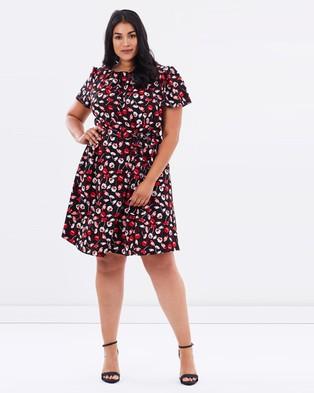 DP Curve – Floral Chiffon Tea Dress – Dresses (Black)