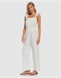 Roxy - Womens Summertime Sadness Linen Wide Leg Jumpsuit
