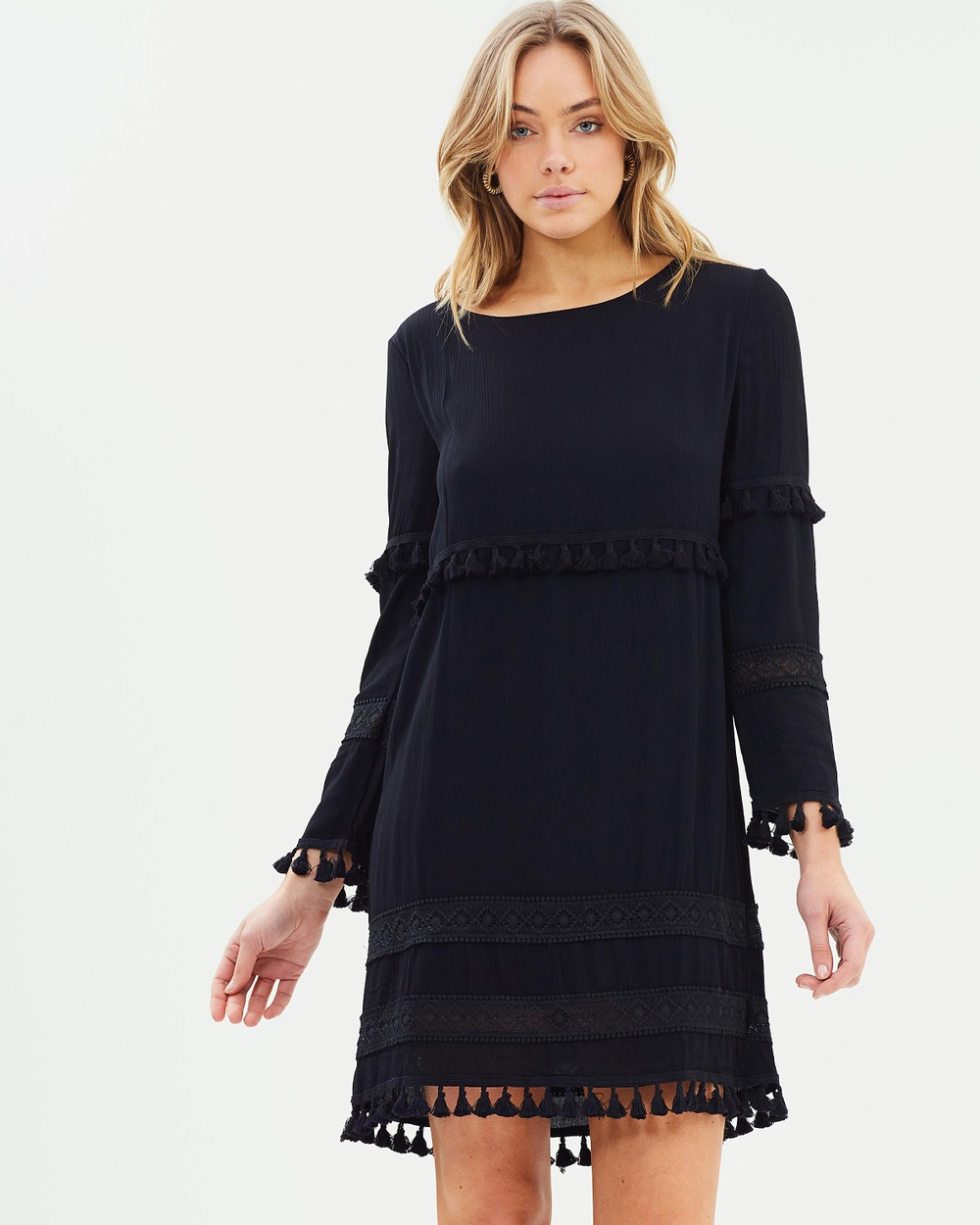Sass Free Spirit Tassle Shift Dress Dresses Black Free Spirit Tassle Shift Dress