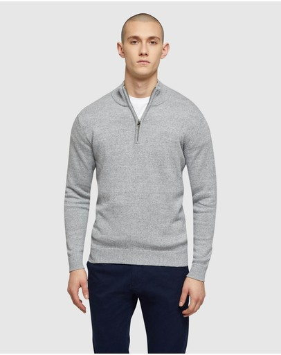 Oxford Robert Zip Neck Knit Grey