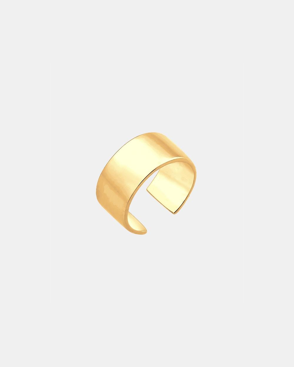 Elli Jewelry Earrings Ear Cuff Basic 925 Sterling Silver Gold Plated Jewellery Gold