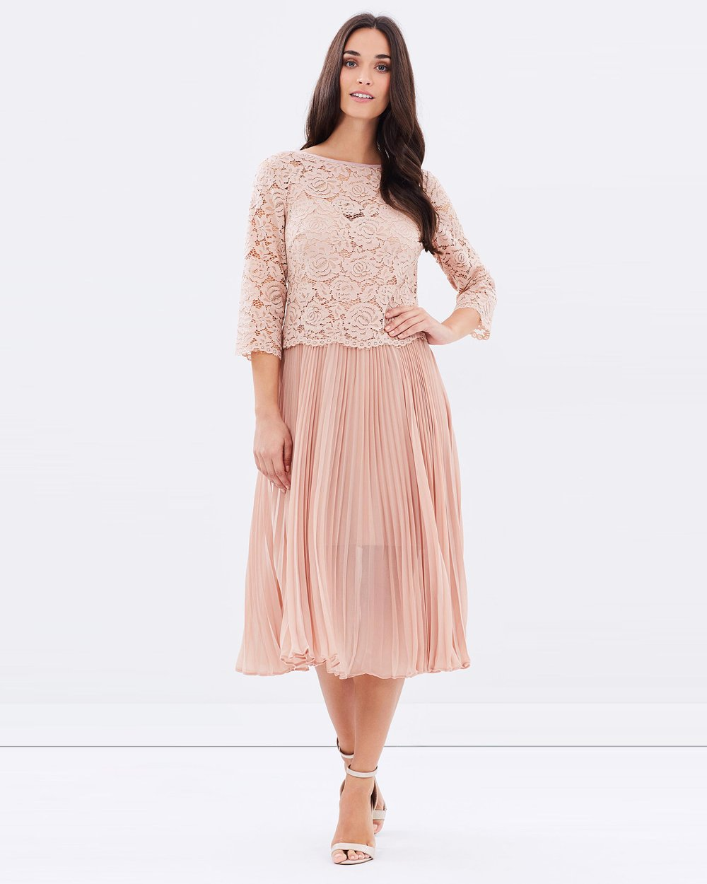 92851bd2965e Shoptagr | Lace Top Pleated Midi by Oasis