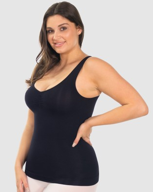 B Free Intimate Apparel Curvy Ultra Light Shaping V Tank - Lingerie Accessories (Black)