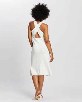 ARIS Cross Back Knit Dress - Bodycon Dresses (White)