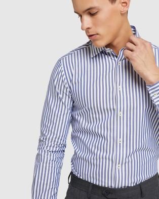 Oxford Beckton Striped Dobby Shirt - Shirts & Polos (Blue)