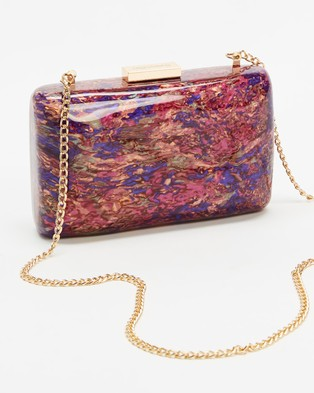 Olga Berg Carsyn Mother Of Pearl Clutch - Clutches (Magenta)