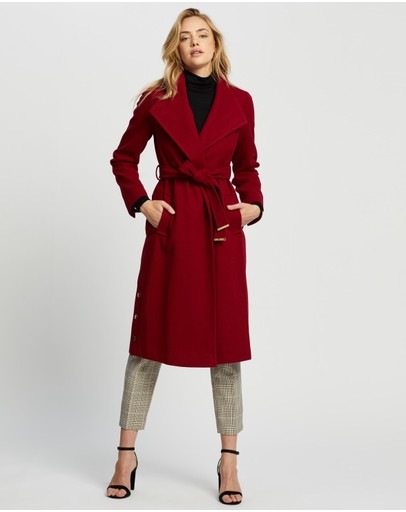 Dorothy Perkins - Glossy Funnel Collar Belted Coat