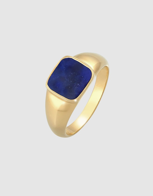 Women Ring Signet Ring Sodalite Square in 925 Silver Gold Plated