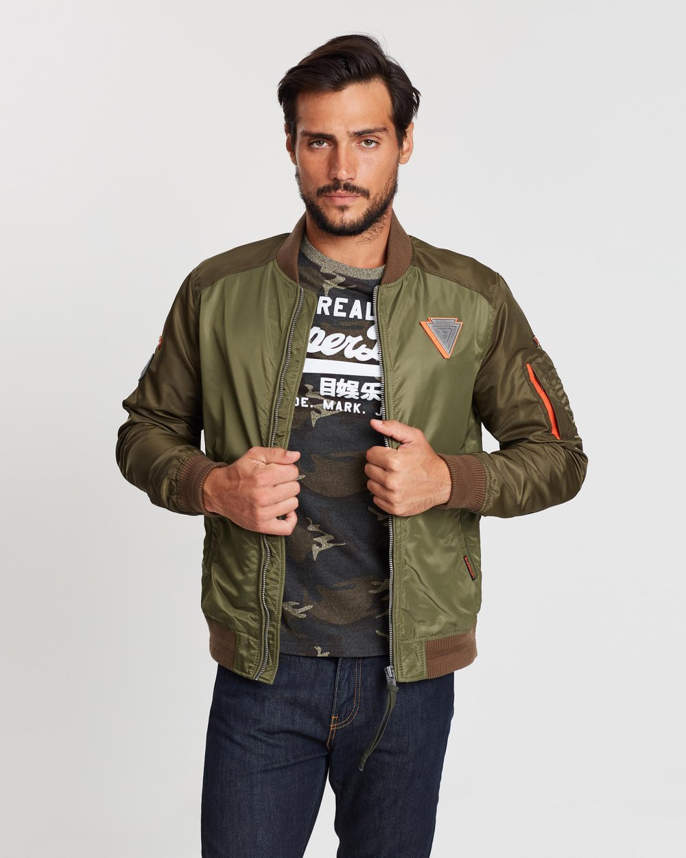 d459119da6251 Rookie Mixed Bomber Jacket by Superdry Online | THE ICONIC | Australia